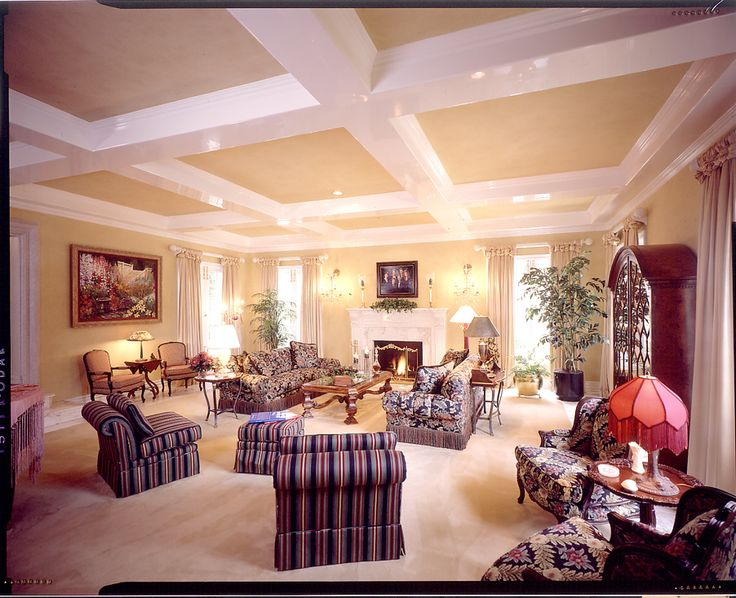 Beautiful Formal Living Room With A Coffered Ceiling