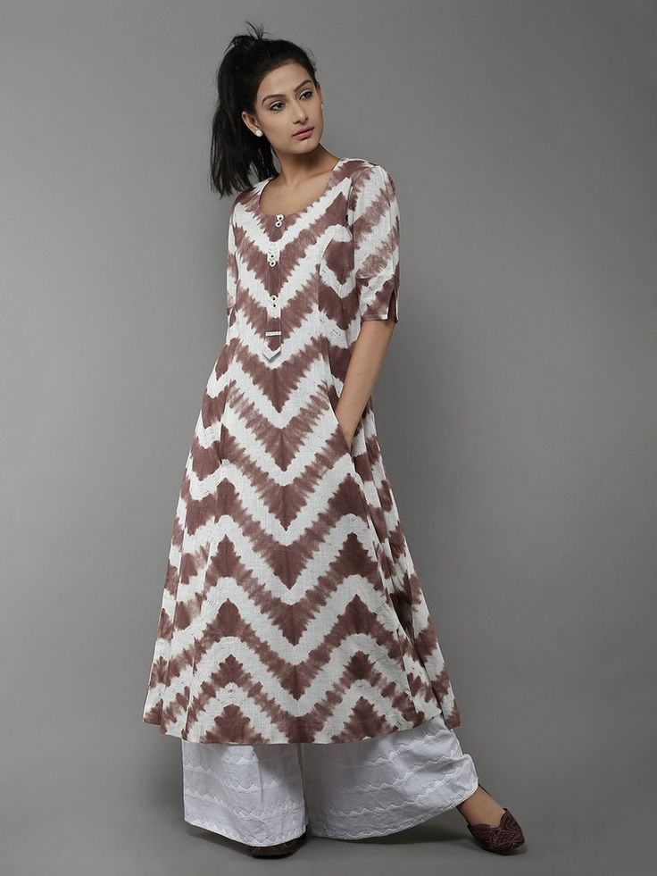 Brown Off White Tye and Dye Cotton Kurti www.maycloth.com
