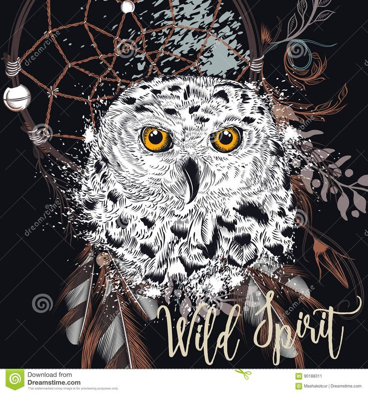 Fashion Boho Illustration With Dreamcatcher And Owl. Stock Vector - Illustration of sketch, dreamcatcher: 90188311