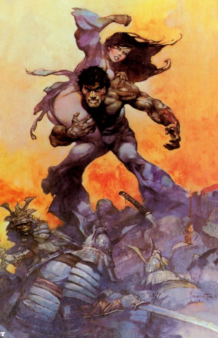 """Frazetta. I'll overlook the objectification for the consummate execution. Comes from the cover of """"The Mucker"""", one of ERB's best."""