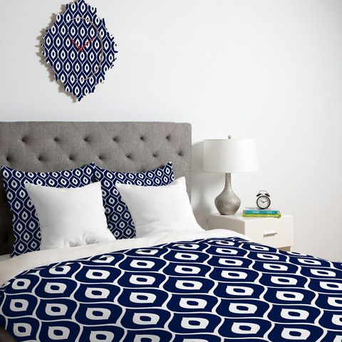 Aimee St Hill Leela Navy Duvet Cover in Navy and White #bedding