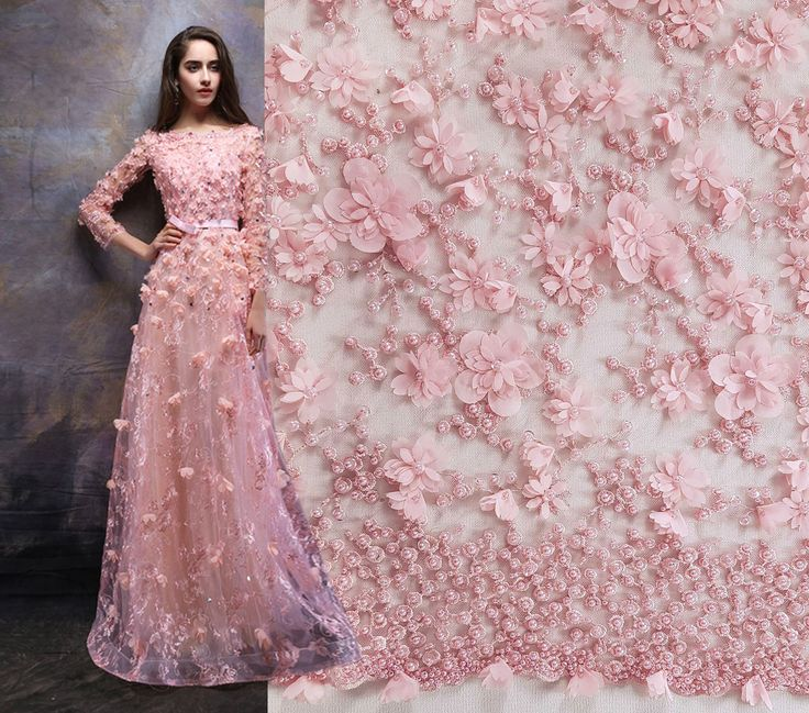 Get inspired by this dress and create you own with #MalagoliFabrics handmade #lace embroidered with beads, pearls and 3D flowers - available now here: https://www.malagoli.ro/en/product/md-222 #HauteCouture #Fashion #Dress #Gown #Embroidery #Fabrics