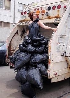 "hammeritout:    This is one of a series by Robin Barcus Slonina titled New York's Garbage Dress that is part of the ""States of Dress"" series. It will eventually have a dress for each state. I am very curious to see how Texas is represented."