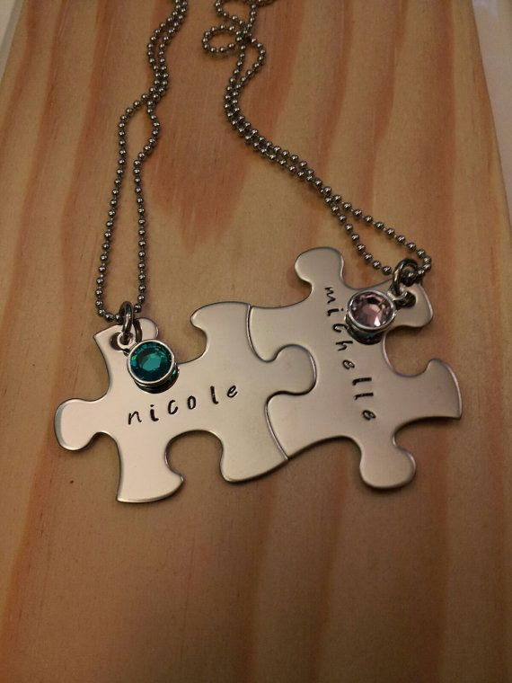 Hand stamped personalized puzzle piece with birthstones necklace.  Great for best friends and sisters.