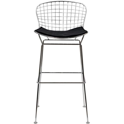 Mid Century Modern CAD Bertoia Chrome Wire Bar Stool with Black seat pad