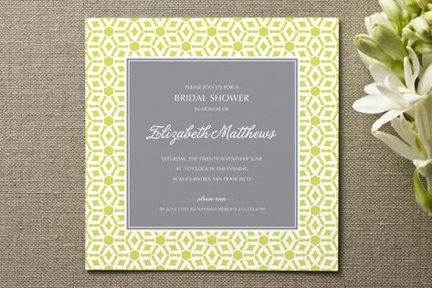Elegantly Simple Bridal Shower Invitations by guess what? at minted.com