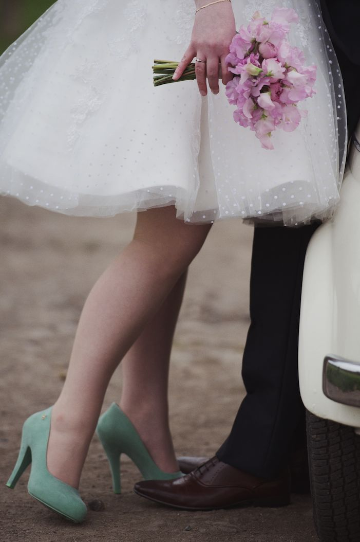 Oh goodness I Love those Green shoes! - 50s Short going away Wedding Dress, Pink Flowers, Green Wedding Shoes.