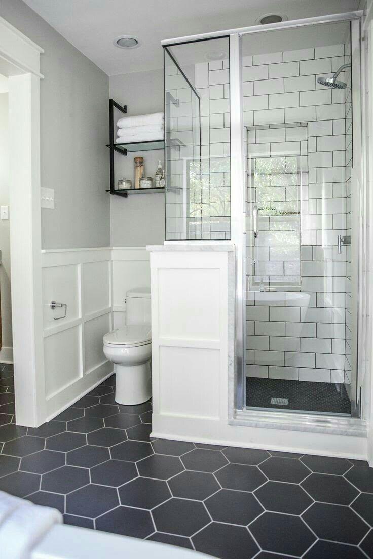 Bathroom - wainscoting, dark gray hexagon tiles, industrial shelving ...