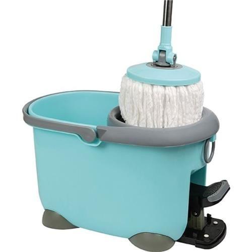 Kit Spin Mop de Limpeza com Esfregao Vassoura e Balde com Centrifugador com Pedal Completo Mop com Rotação 360º + Refil Mor