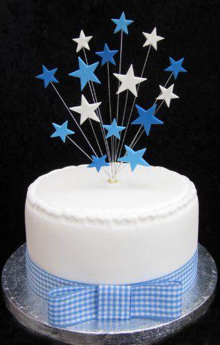Blu e bianco stella Cake Topper adatto per piccole torte o Cupcake