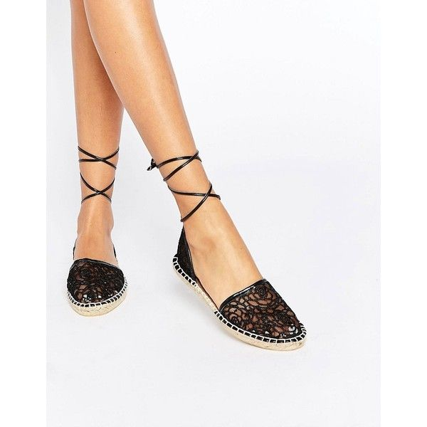 ASOS JULIET Tie Leg Lace Espadrilles (1.550 RUB) ❤ liked on Polyvore featuring shoes, sandals, black, black flat shoes, black lace flats, black shoes, lace flats and black sandals