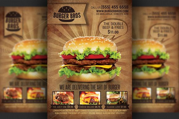 Burger Promotion Flyer Template ~ Flyer Templates on Creative Market