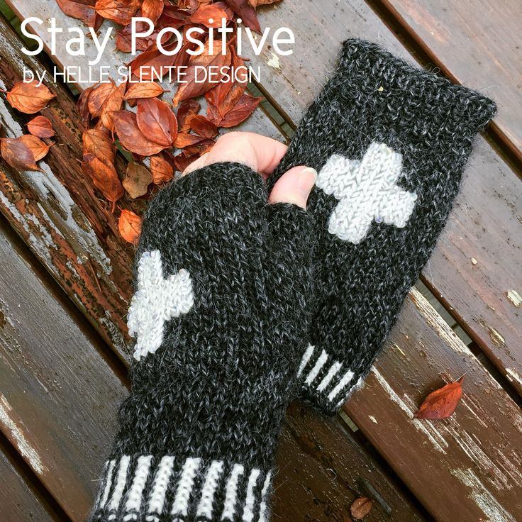 Stay Positive - fingerless mittens by HELLE SLENTE DESIGN | embroidery & beads | Ravelry knitting pattern