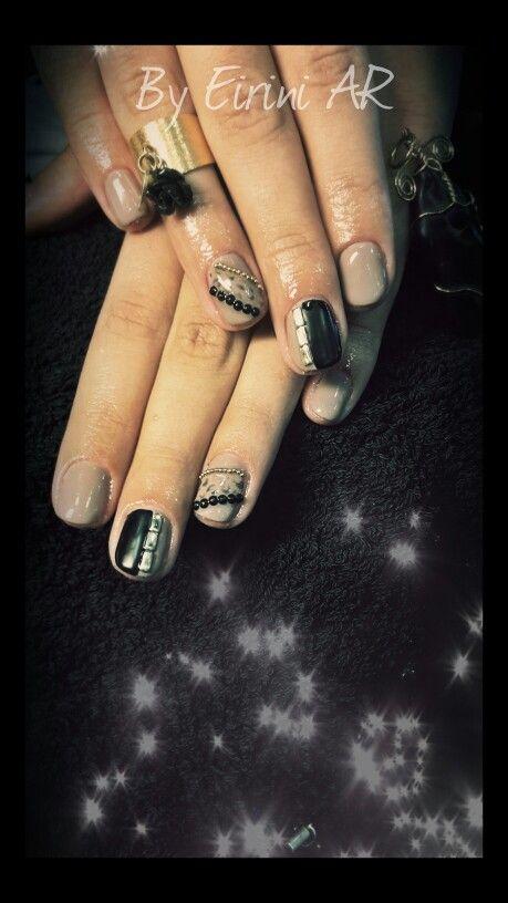 Nude black gel polish