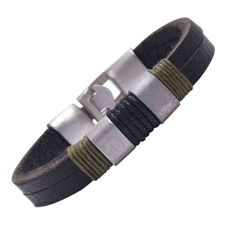 R&B Schmuck Herren Armband - Lederarmband Militär Style, Solide (Kaki, Schwarz, Silber): 13,90€