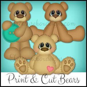 Print & Cut (Bear Trio)- Treasure Box Designs Patterns & Cutting Files (PNG & JPEG)