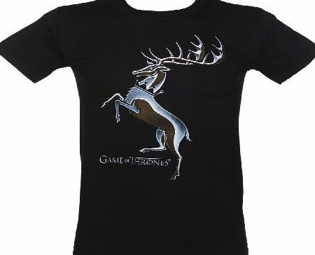 Mens Black Baratheon House Logo Game Of Thrones The current Royal House in the cult series Game Of Thrones, House Baratheons motto is Ours is the Fury and their sigil, a black stag on a gold background. If youve been bitten by the GOT bug an pledge http://www.comparestoreprices.co.uk/t-shirts/mens-black-baratheon-house-logo-game-of-thrones.asp