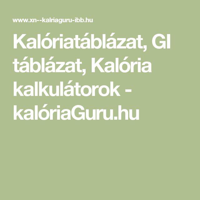 Kalóriatáblázat, GI táblázat, Kalória kalkulátorok - kalóriaGuru.hu