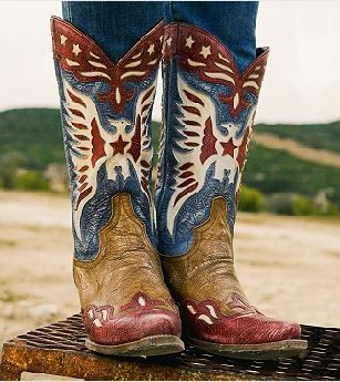 Double D Ranch Lane Star Spangled Boots - patriotic boots, eagle boots, red, white and blue boots