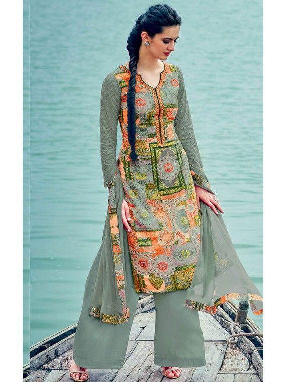 Exquisite Sage Green Indian Trendy Palazo kameez