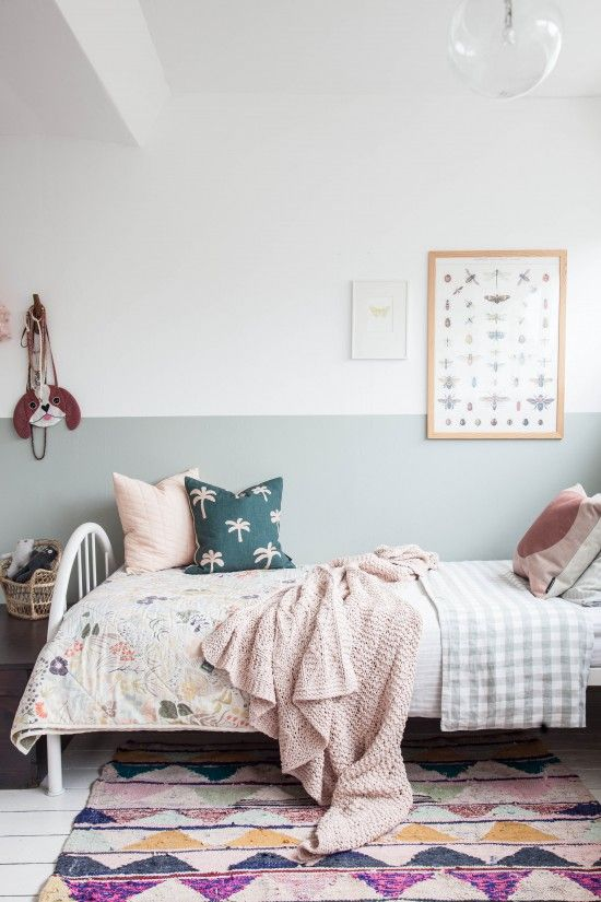 Half painted wall in little girls room // farrow and ball light blue