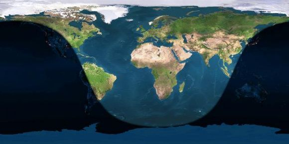 Day and night sides of Earth at the instant of the June solstice (2014 June 21 at 10:51 Universal Time). The sun is rising in the U.S. and shining at zenith over northern Africa at this magic moment. Image credit: Earth and Moon Viewer
