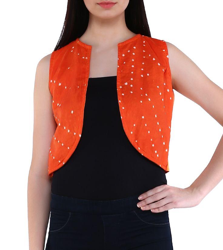 Orange Cotton Bandhani Shrug