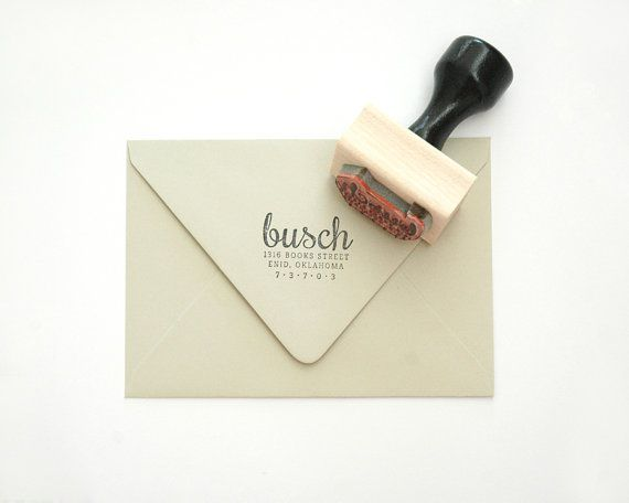 """Custom """"Calligraphy"""" Return Address Stamp - for Gifts, Christmas Cards, Holidays, Housewarming - Wood Mounted, Handle & Eco-Friendly Rubber on Etsy, $28.42 CAD"""