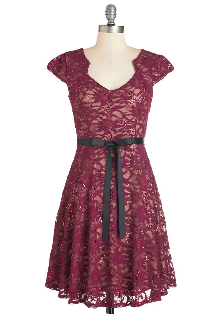 Sweet Staple Dress in Merlot. While standing in your closet full of precious pieces, you often find yourself reaching for this maroon lace dress! #red #lacy #modcloth