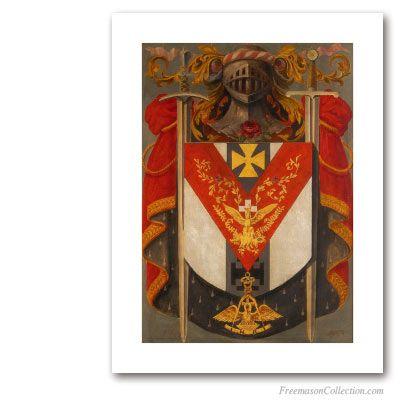Armorial of Knight Rose-Croix. Circa 1930. 18° Degree of Scottish Rite. Masonic Art