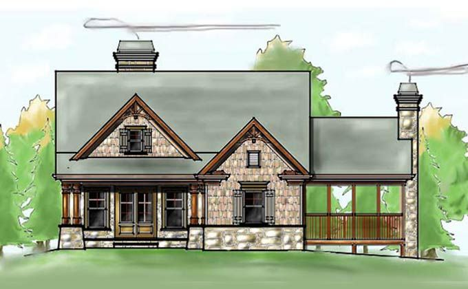 3 Bedroom Craftsman Cottage House Plan With Porches Mountain Cottage Small Cottages And