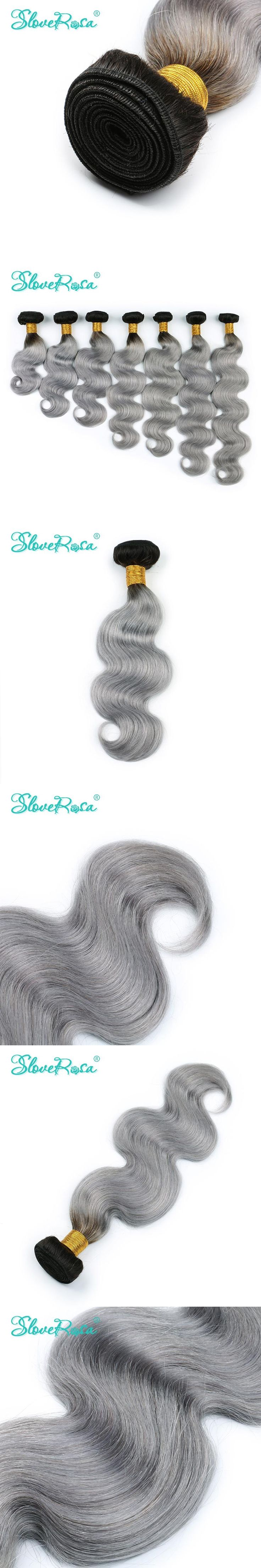 Slove Rosa 1B/Grey Ombre Remy Human Hair Extensions Body Wave Hair 1 Bundle Gray Color Ombre Brazilian Hair Grey Hair Wave