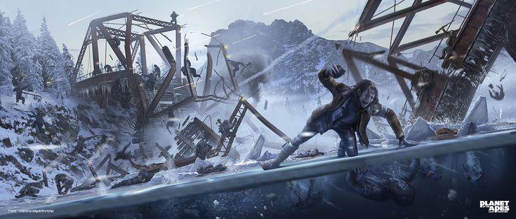 Planet of the Apes: Last Frontier - Millers Bridge, Simon Fetscher on ArtStation at https://www.artstation.com/artwork/bwLln