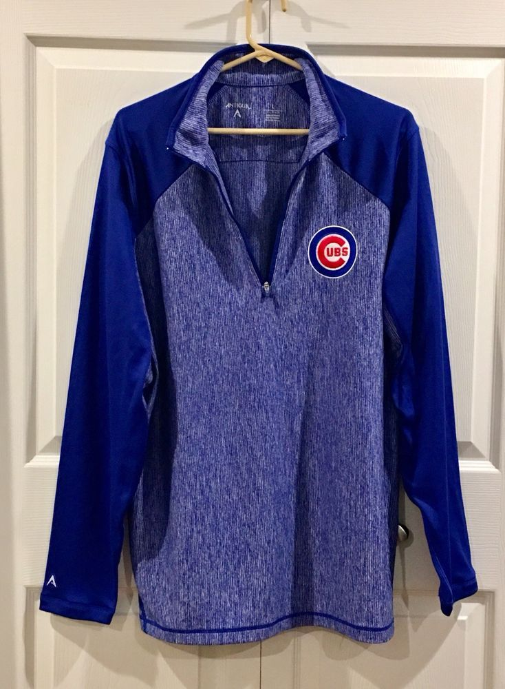 Antigua Chicago Cubs Mens Jacket Pullover 1 4 Zipper Royal Blue Size Large  EUC  8a317929a6