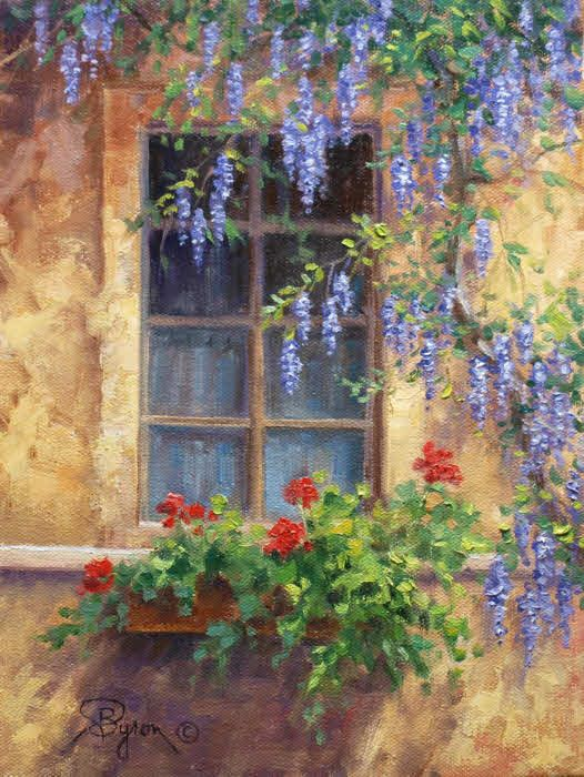 Impressionist oil painting of an old window with wisteria and geraniums by Byron copyright 2015