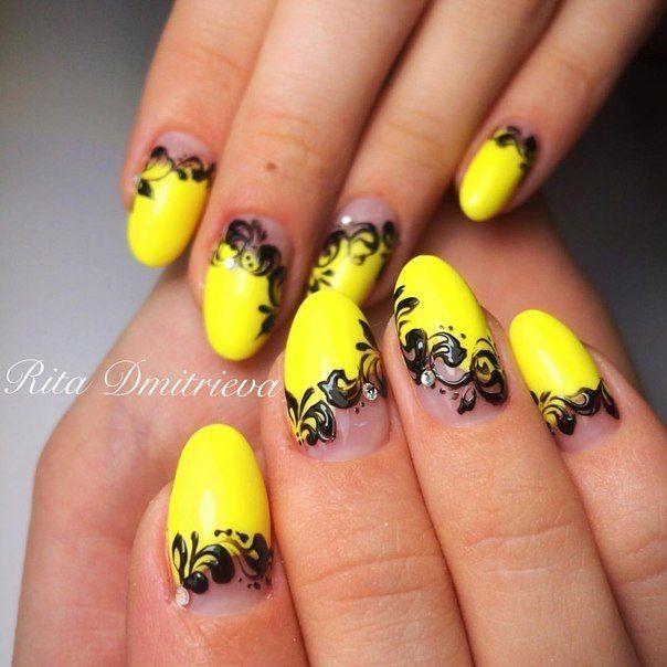 Желтый дизайн ногтей 2017