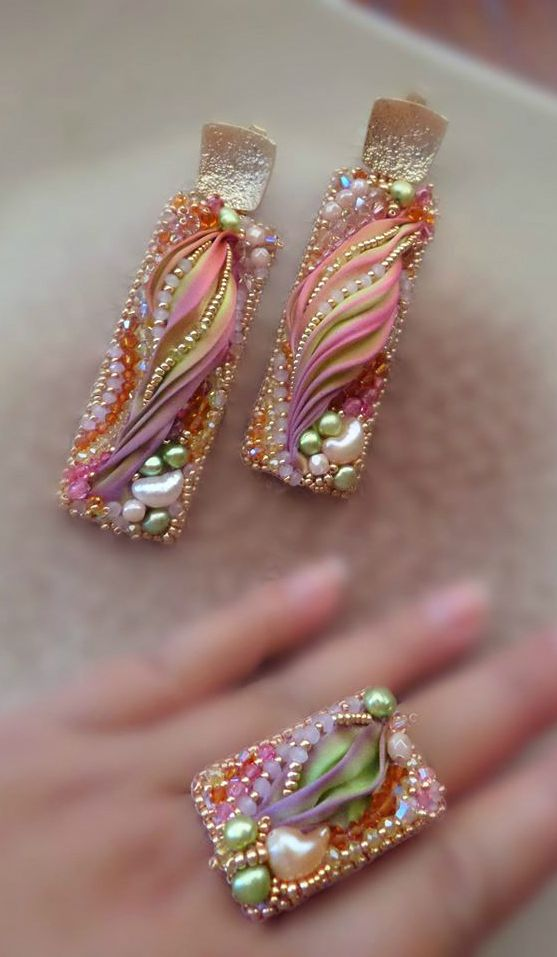 PRETTY TO DO PENDANT WITH POLYMER AND PEARLS, ETC...................................~~Bead-Embroidery, Shibori Silk Earrings and Ring   Serena Di Mercione Jewelry~~