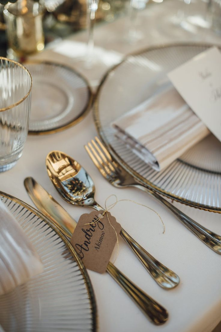 Simple cutlery labels for Luxury Russian Wedding.    Set up & Deco by Mille Papillons.    See more in www.millepapillons.com