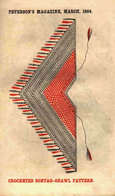 In the Swan's Shadow: Sontag Shawl Pattern. Peterson's Magazine, March 1864.