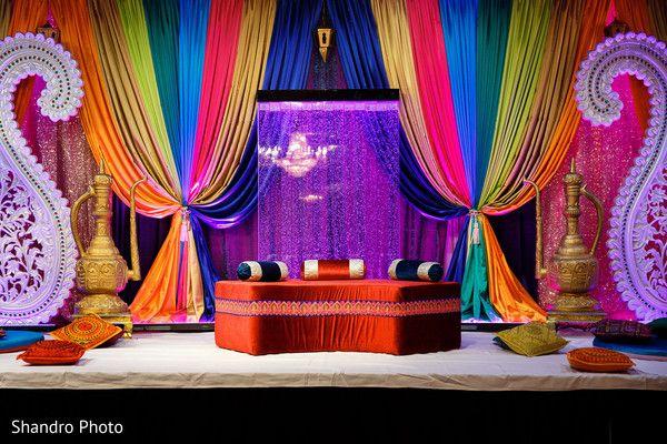 bold and colorful Sikh wedding backdrop | maharani weddings