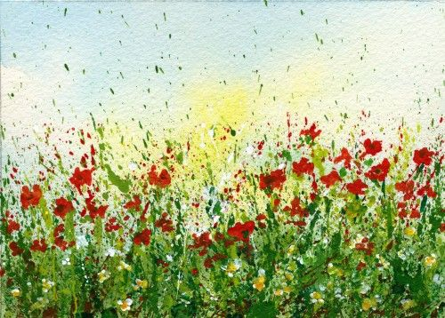 Create a splattered paint flower garden-no drawing required-myflowerjournal.com