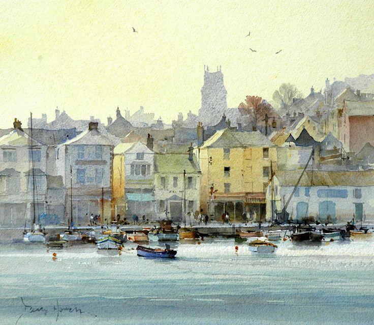 Brixham harbour. David Howell Watercolour Landscape Painting