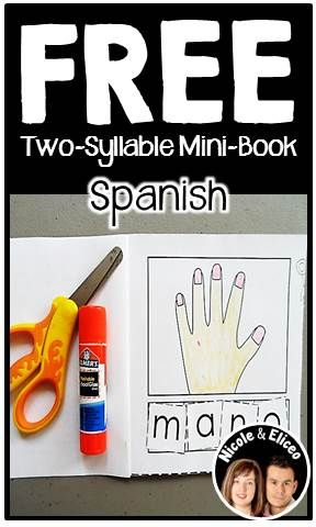 FREE Spanish two-syllable interactive mini-book (cut & paste)