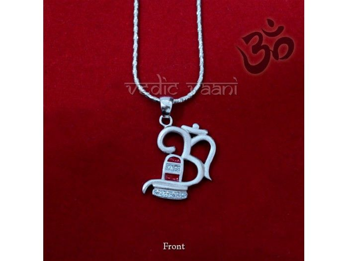 Om Shivling Locket with Chain in Sterling Silver buy online from India : Colorful Om Shivling locket in pure silver with red coloring done that gives it an attractive look.  OM, tat and sat has been declared as the triple appellation of Brahman, who is Truth, Consciousness and Bliss. Shivling represent Lord Shiva to protect all evils