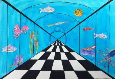 one-point perspective: under the sea. the lines should get closer together as…