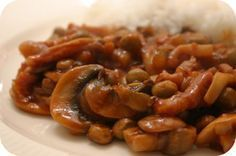 Rijst met Kapucijners en Champignons in Zoete Saus
