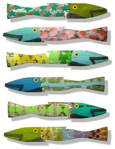 Painted wooden fish craft