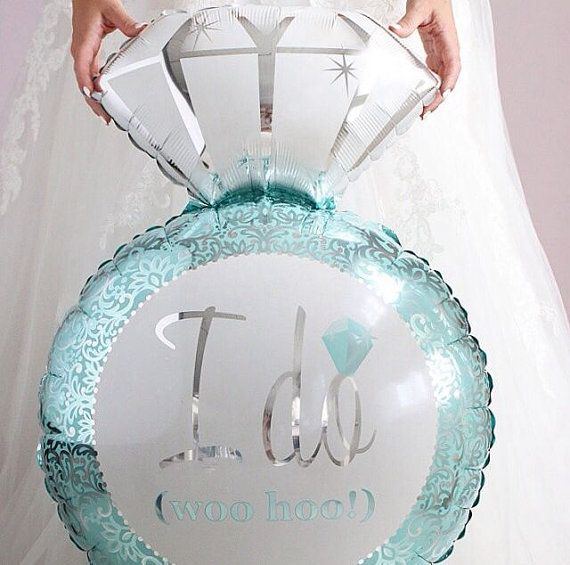 Diamond Engagement Ring Mylar Balloon for Bridal Shower or Engagement Party in Aqua Blue  This balloon is perfect for a Breakfast At Tiffanys