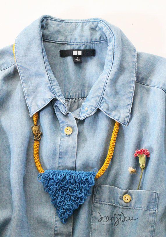 frizzy necklace  crochet triangle necklace   by KenjikuMade