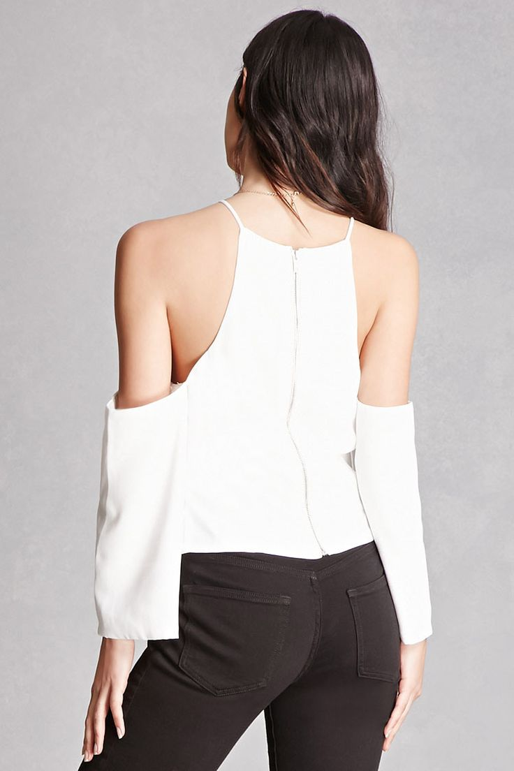 A woven top featuring an open-shoulder design, front seam construction, long sleeves, cami straps, a high neck, and an exposed back zip closure. This is an independent brand and not a Forever 21 branded item.